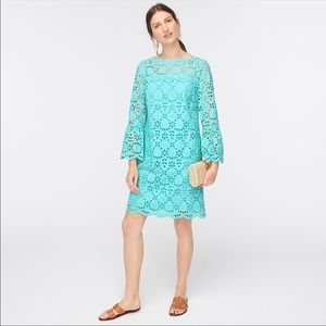 J. CREW Embroidered Eyelet Dress with Bell-sleeves